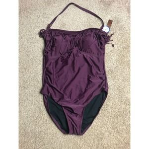 Tropiculture SuimsuitsForAll Purple Halter 18 NWT
